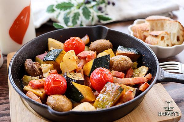 秋野菜とベーコンのオイル焼き